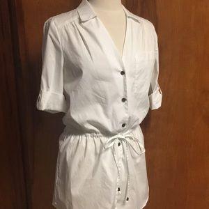 Peter Nygard White Dress Shirt Tunic New Med